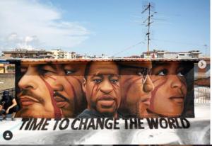 Jorit: a Barra il suo murale per George Floyd