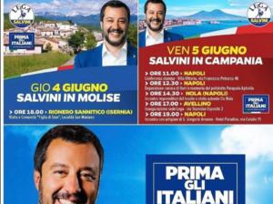 Salvini in Campania ma con la foto dell'Etna. Errore o scher