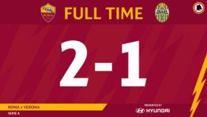 Roma Verona 2 1, terza vittoria di fila per i giallorossi